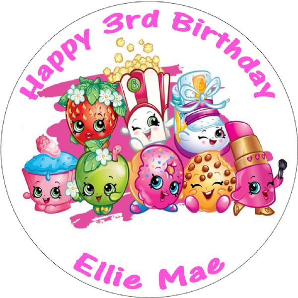 SHOPKINS PERSONALISED ROUND BIRTHDAY CAKE TOPPER